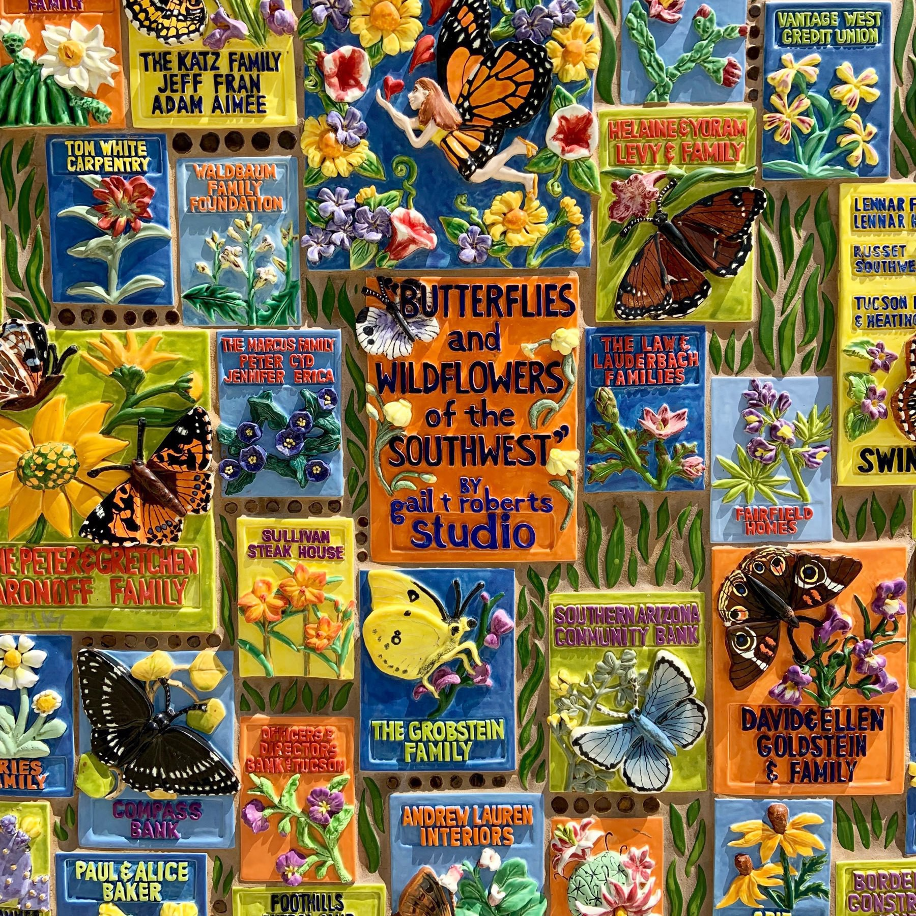 part of a mural by Gail Roberts celebrating the wildflowers and butterflies of the American Southwest