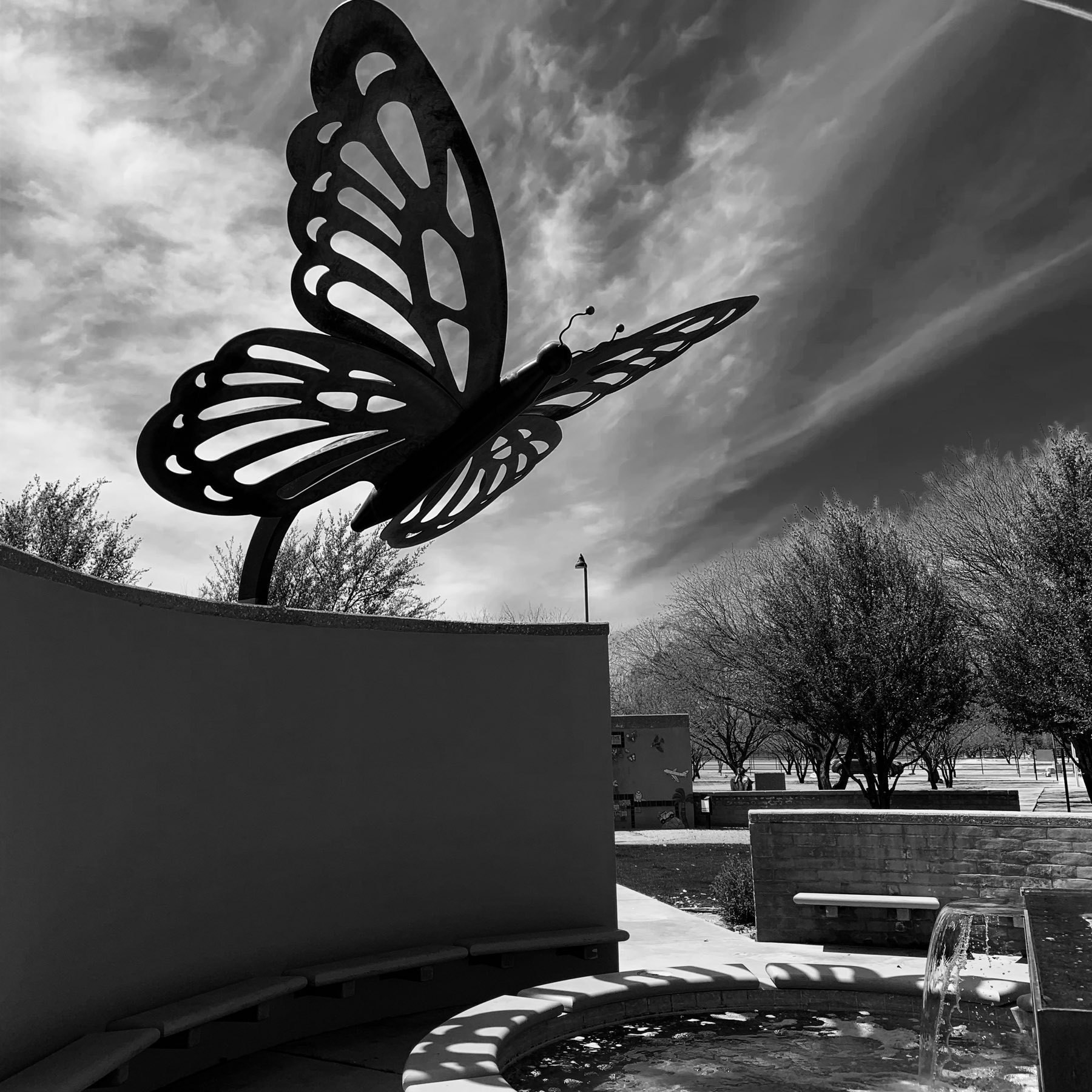 Giant butterfly public art sculpture at Brandi Fenton Memorial Park