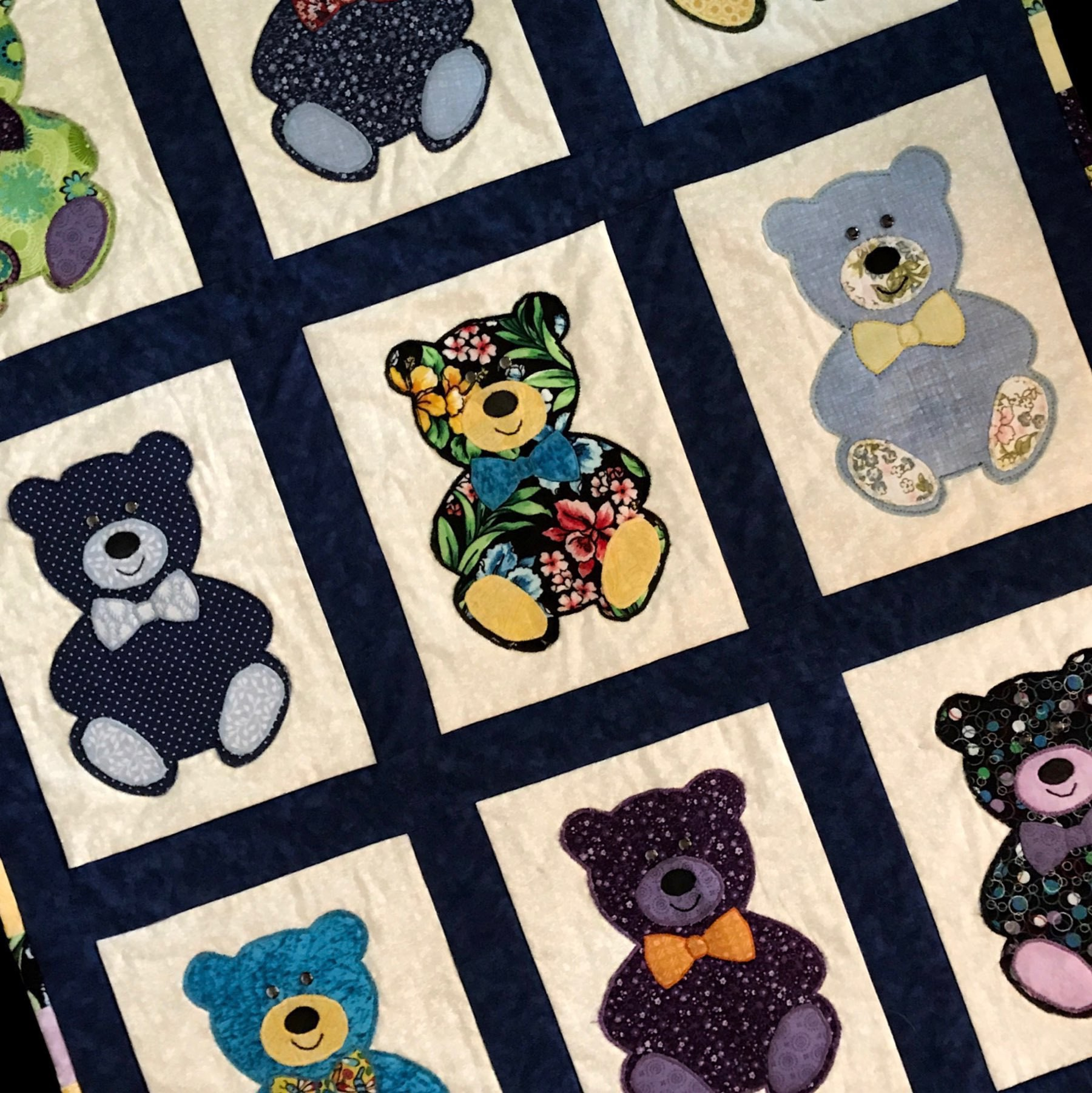 colorful teddy bear quilt