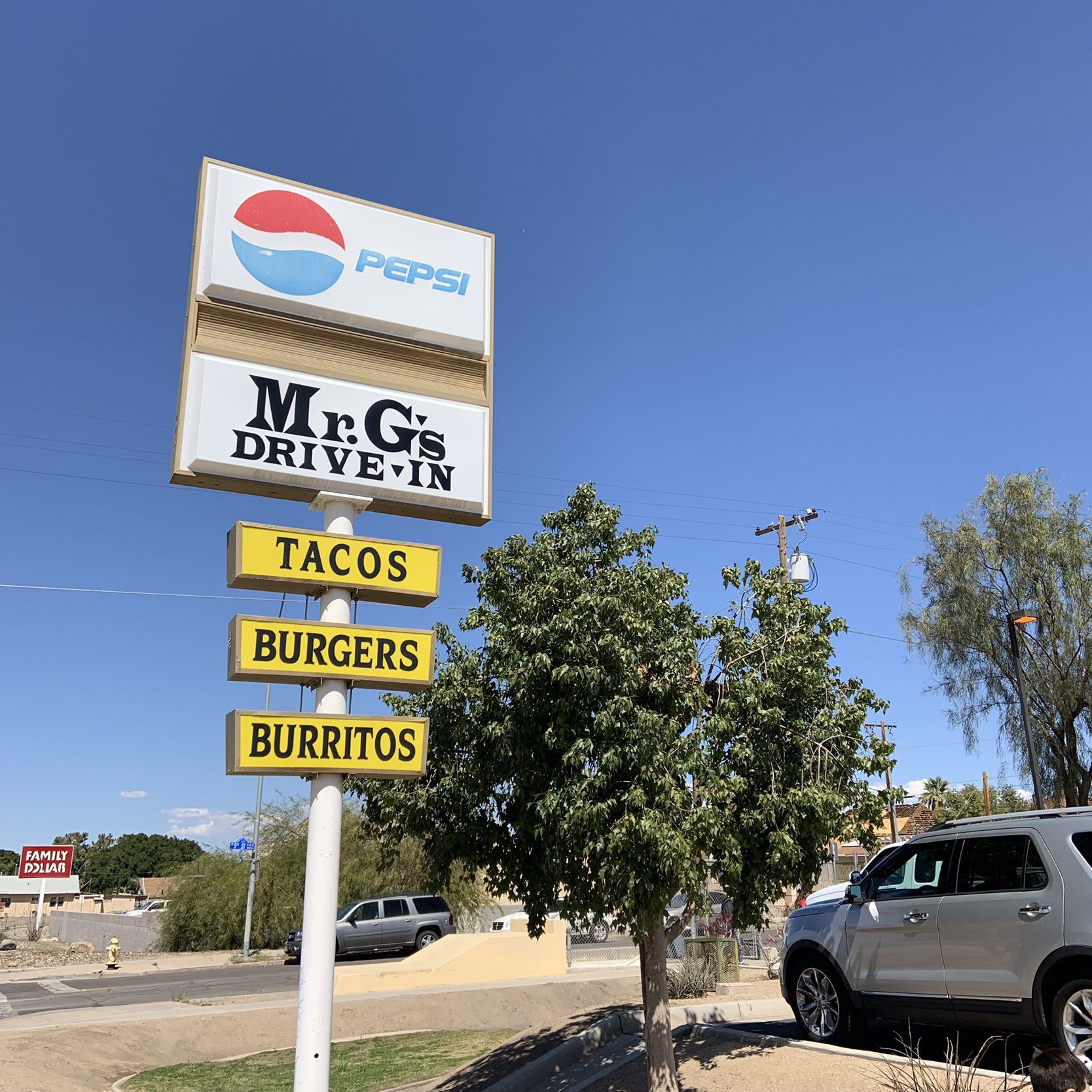 Road Sign for Popular Yuma, AZ Restaurant, Mr. G's