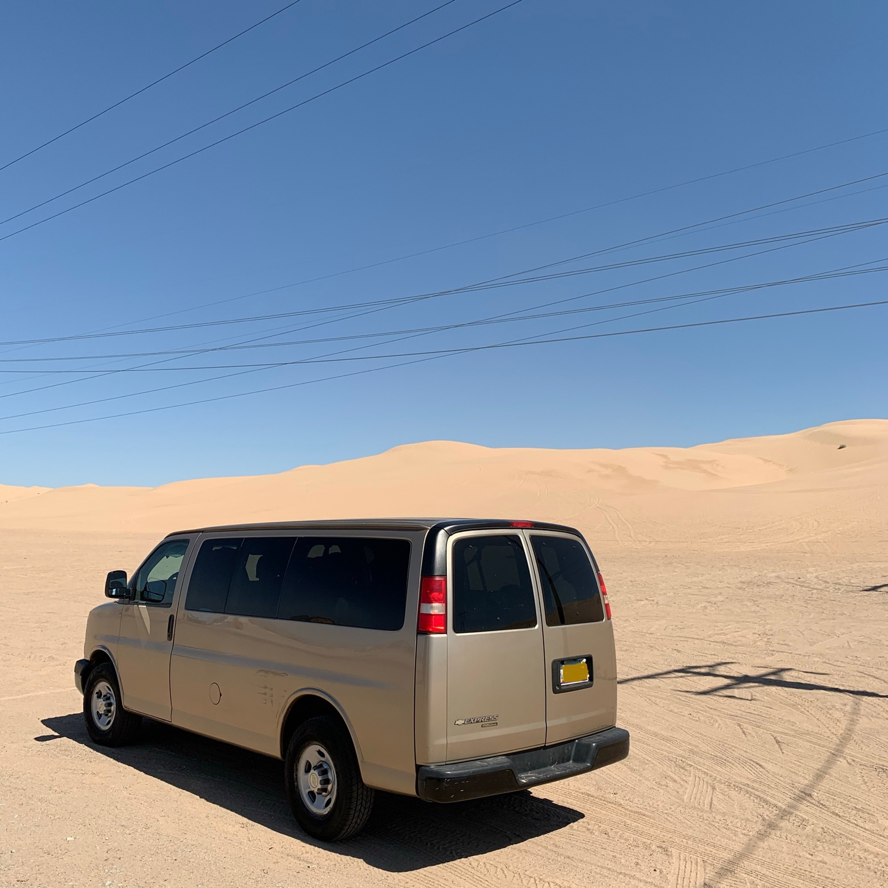 gold van on sand